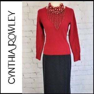 CYNTHIA ROWLEY Wool Blend Cable Knit Sweater L